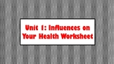Influences on Your Health Worksheet