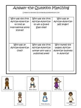 Influential African American Women themed Answer the Question printable game.