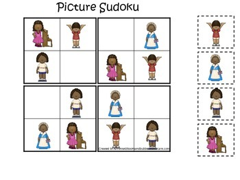Influential African American Women themed Picture Sudoku printable game.