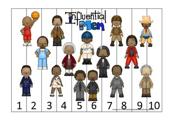 Influential African Americans themed Number Sequence Puzzle 1-10 preschool activ