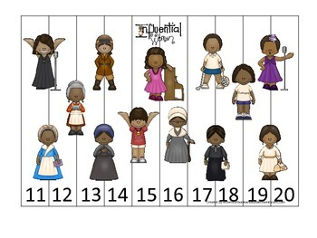 Influential Women themed Number Sequence Puzzle 11-20 preschool learning activ