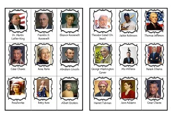 Influential people in history bingo/loteria personas afluyentes de la historia