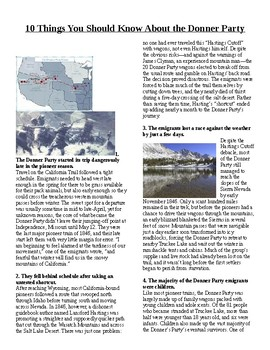 Info Read Text/Vocab - 10 Things about the Donner Party (no prep/sub plans)