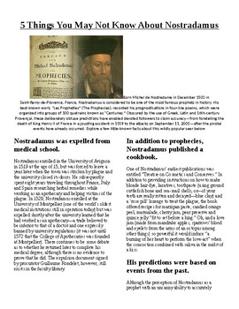 Info Read Text/Vocab - 5 Things You Didn't Know About Nostradamus (no prep/sub)