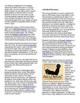 Info Read Text/Vocab - Women's History Month: The 19th Amendment (no prep/sub)