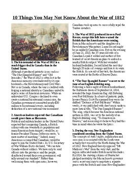 Info Reading Text - 10 Things You Didn't Know About The War of 1812 (no prep)