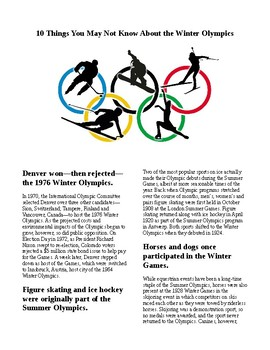 Info Reading Text - 10 Things You may not know about the Winter Olympics