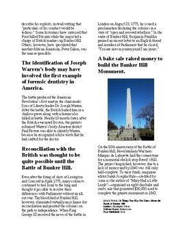Info Reading Text - 10 things you may not know about Bunker Hill (no prep)