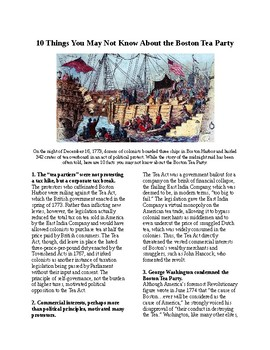 Info Reading Text - 10 things you may not know about the Boston Tea Party