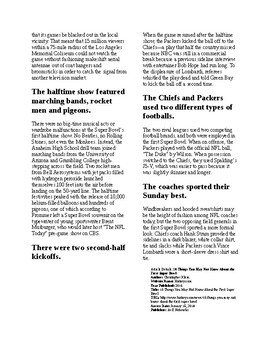 Info Reading Text - 10 things you might not know about Super Bowl 1 (no prep)