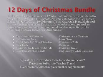 Info Reading Text - 12 Days of Christmas Bundle Save $18! (no prep/sub plans)
