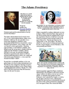 Info Reading Text- 1790's US Conflict: John Adams' Presidency (no prep/sub plan)