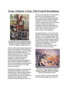 Info Reading Text - 1790's US Conflicts: French Revolution (no prep/sub plans)