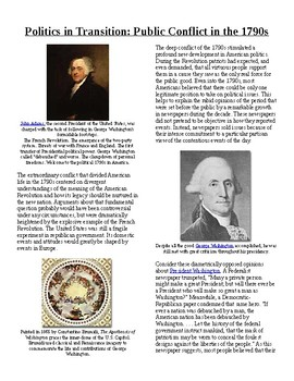 Info Reading Text-1790's US Conflicts: Politics in Transition (no prep/sub plan)