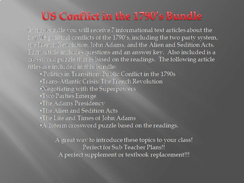 Info Reading Text - 1790's US Conflicts Bundle (no prep/sub plans)