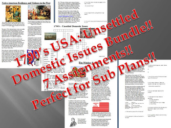 Info Reading Text - 1790's USA: Unsettled Domestic Issues Bundle (no prep)