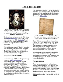 Info Reading Text-1790's Unsettled Domestic Issues: The Bill of Rights (no prep)