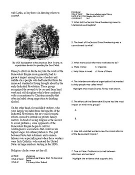 Info Reading Text -1800's National Development: Religion (no prep)