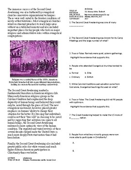 Info Reading Text - 1800's National Identity: Second Great Awakening (no prep)