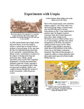 Info Reading Text - 1800's Reforms: Experiments in Utopia (no prep/sub plan)