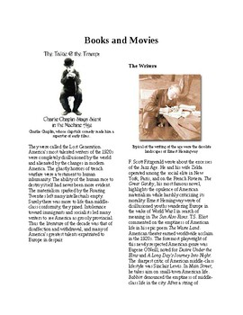 Info Reading Text - 1920's Old Values v. New Values: Books and Movies (no prep)