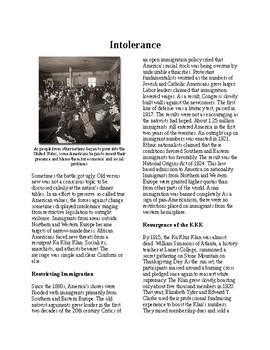 Info Reading Text - 1920's Old Values v. New Values: Intolerance (no prep/sub)
