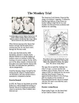 Info Reading Text - 1920's Old Values v. New Values: The Scopes Monkey Trial