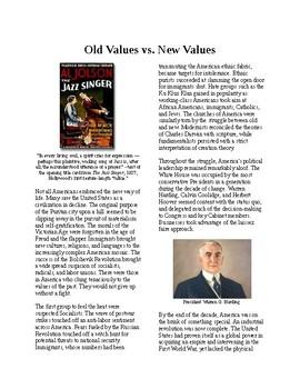 Info Reading Text - 1920's Old Values v. New Values (no prep/sub plans)