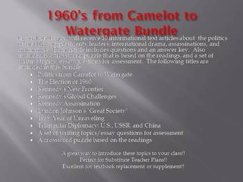 Info Reading Text - 1960's Politics from Camelot to Watergate Bundle (no prep)