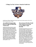 Info Reading Text - 6 Things You May Not Know About the World Series (no prep)