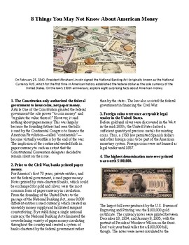 Info Reading Text - 8 Things You Didn't Know About American Money (no prep)