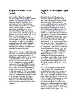 Info Reading Text - 9/11 Attacks: Flight 93 (no prep)
