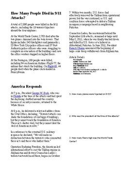 Info Reading Text - September 11th Attacks (no prep)