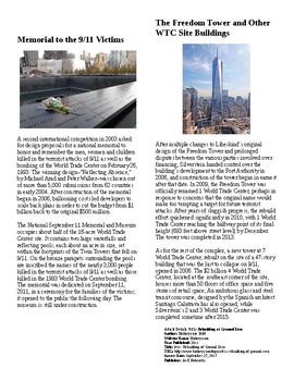 Info Reading Text/Vocab - September 11th: Rebuilding Ground Zero (no prep/sub)