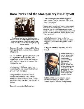 Info Reading Text - A New Civil Rights Movement: Rosa Parks and bus boycotts