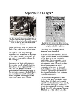 Info Reading Text - A New Civil Rights Movement: Separate No Longer? (no prep)