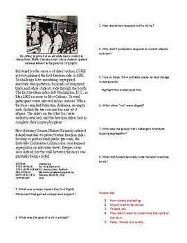 Info Reading Text - A New Civil Rights Movement: The Sit-In Movement (no prep)
