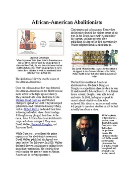 Info Reading Text - Abolition Grows: African American Abolitionists (no prep/sub