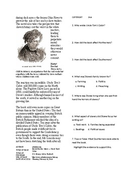 Info Reading Text - Abolition Grows: Harriet Beecher Stowe and Uncle Tom's Cabin