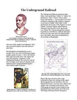Info Reading Text - Abolition Grows: The Underground Railroad (no prep/sub plan)