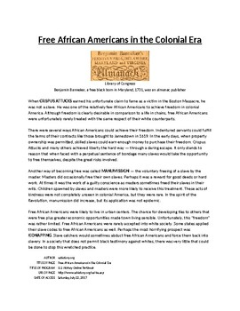 Info Reading Text - African Americans in New World: Free Africans (no prep/sub