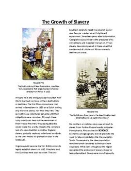 Info Reading Text - African Americans in New World: Growth of Slavery (no prep)