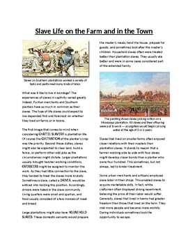 Info Reading Text - African Americans in New World: Slave Life (no prep/sub plan