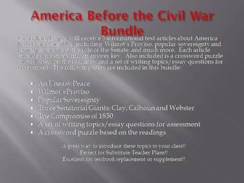 Info Reading Text - America Before the Civil War Bundle (no prep/sub plans)