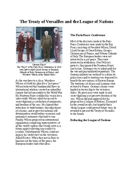 Info Reading Text - America in First World War: Versailles and League of Nations