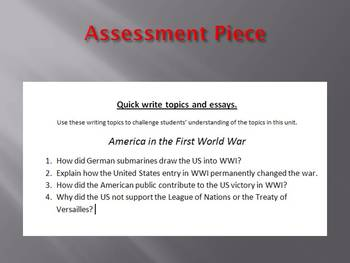 Info Reading Text - America in the First World War Bundle (no prep/sub plan)