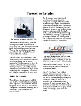 Info Reading Text: America in the First World War: Farewell to Isolationism