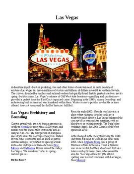 Info Reading Text - American Cities: Las Vegas (no prep/sub plans)