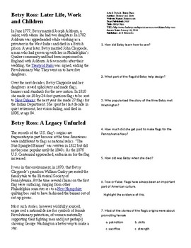 Info Reading Text - American Revolution: Betsy Ross (no prep/sub plan)