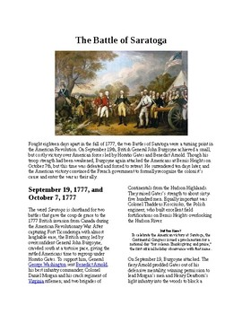 Info Reading Text - American Revolution: The Battle of Saratoga (no prep)